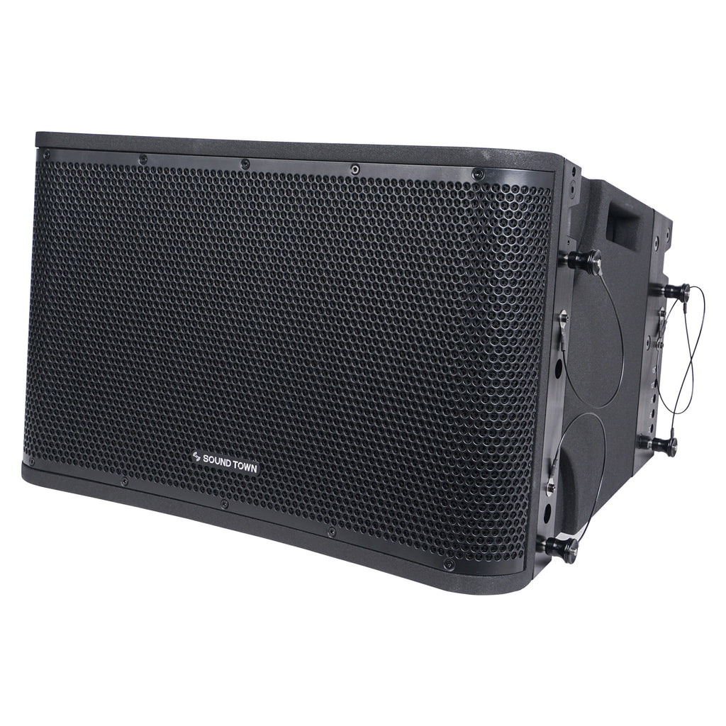 Sound Town ZETHUS-112BPWX4 ZETHUS Series 12 inch Powered 2-Way Line Array Loudspeaker System with Two Titanium Compression Drivers, Black for Live Sound, Club, Bar, Restaurant, Church and School - Left Panel