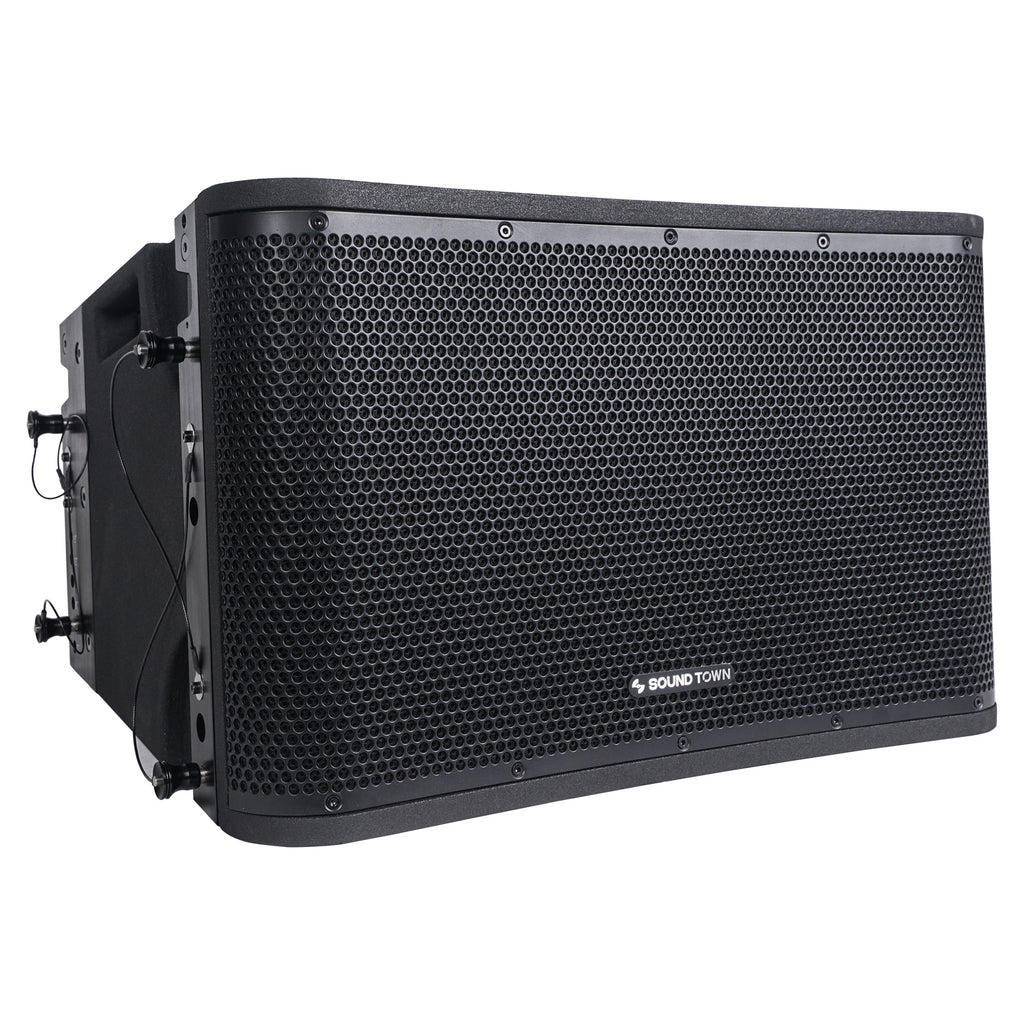 Sound Town ZETHUS-112BPWX4 ZETHUS Series 12 inch Powered 2-Way Line Array Loudspeaker System with Two Titanium Compression Drivers, Black for Live Sound, Club, Bar, Restaurant, Church and School - Right Panel