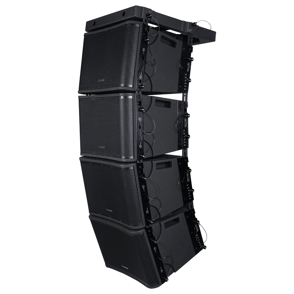 "Sound Town ZETHUS-112BPWX4 ZETHUS Series 4 x 12"" Powered 2-Way Line Array Loudspeaker System with Two Titanium Compression Drivers, Black for Live Sound, Club, Bar, Restaurant, Church and School - Left Panel"