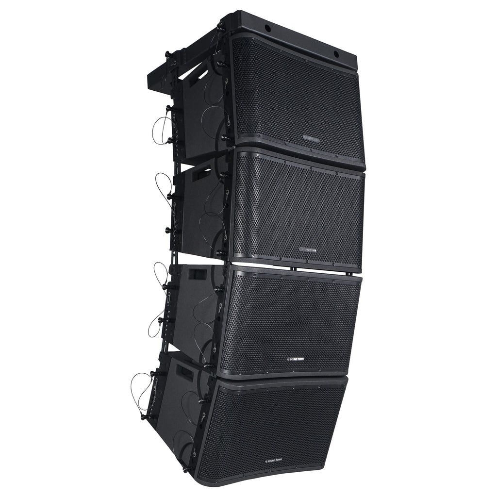 "Sound Town ZETHUS-112BPWX4 ZETHUS Series 4 x 12"" Powered 2-Way Line Array Loudspeaker System with Two Titanium Compression Drivers, Black for Live Sound, Club, Bar, Restaurant, Church and School - Right Panel"