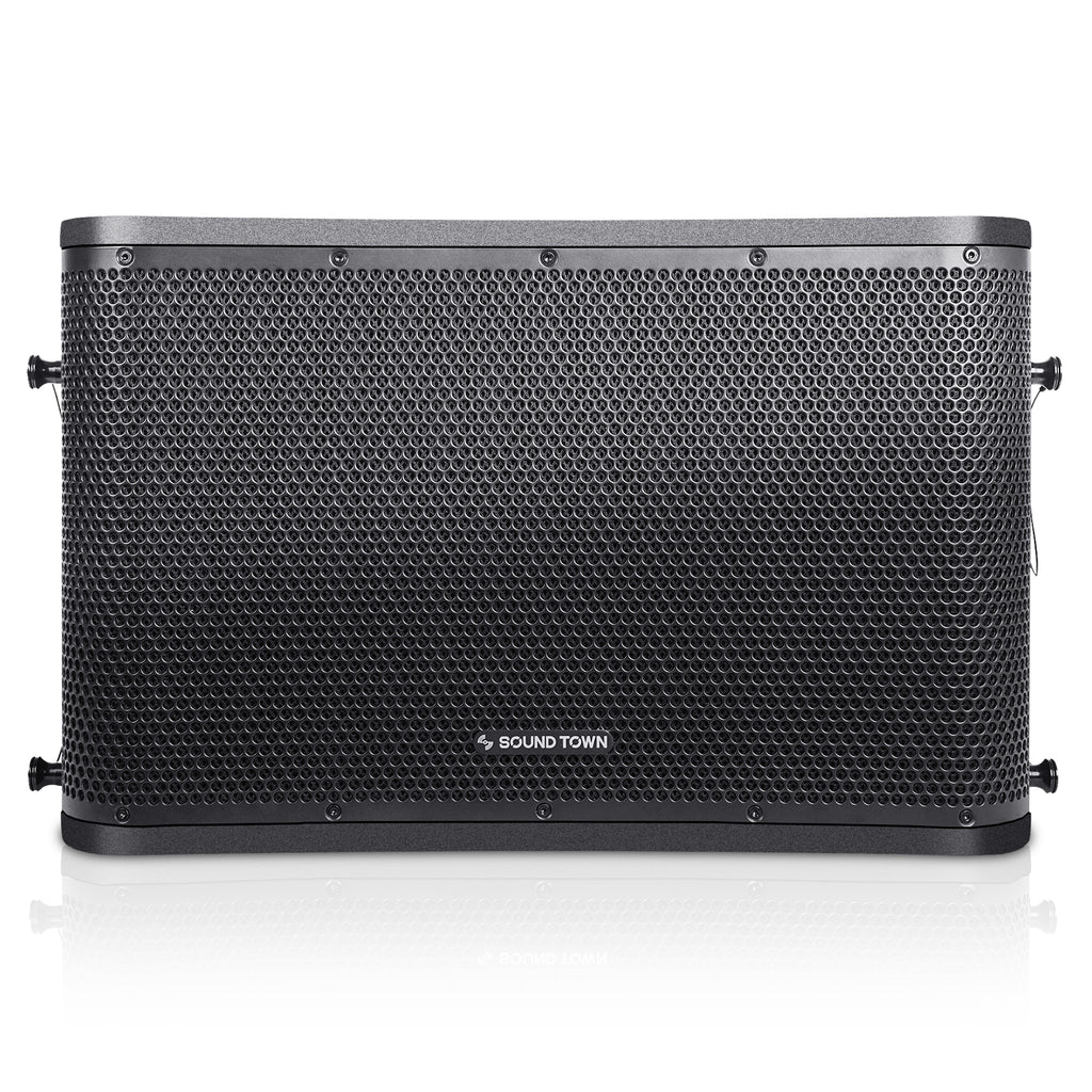 "SOUND TOWN ZETHUS-112BPW ZETHUS Series 12"" Powered 2-Way Line Array Loudspeaker System with Two Titanium Compression Drivers, Black for Live Sound, Club, Bar, Restaurant, Church and School - Front Panel"