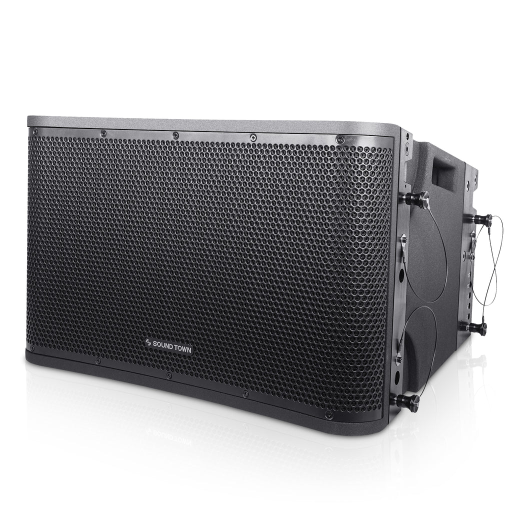 "SOUND TOWN ZETHUS-112BPW ZETHUS Series 12"" Powered 2-Way Line Array Loudspeaker System with Two Titanium Compression Drivers, Black for Live Sound, Club, Bar, Restaurant, Church and School - Left Panel"