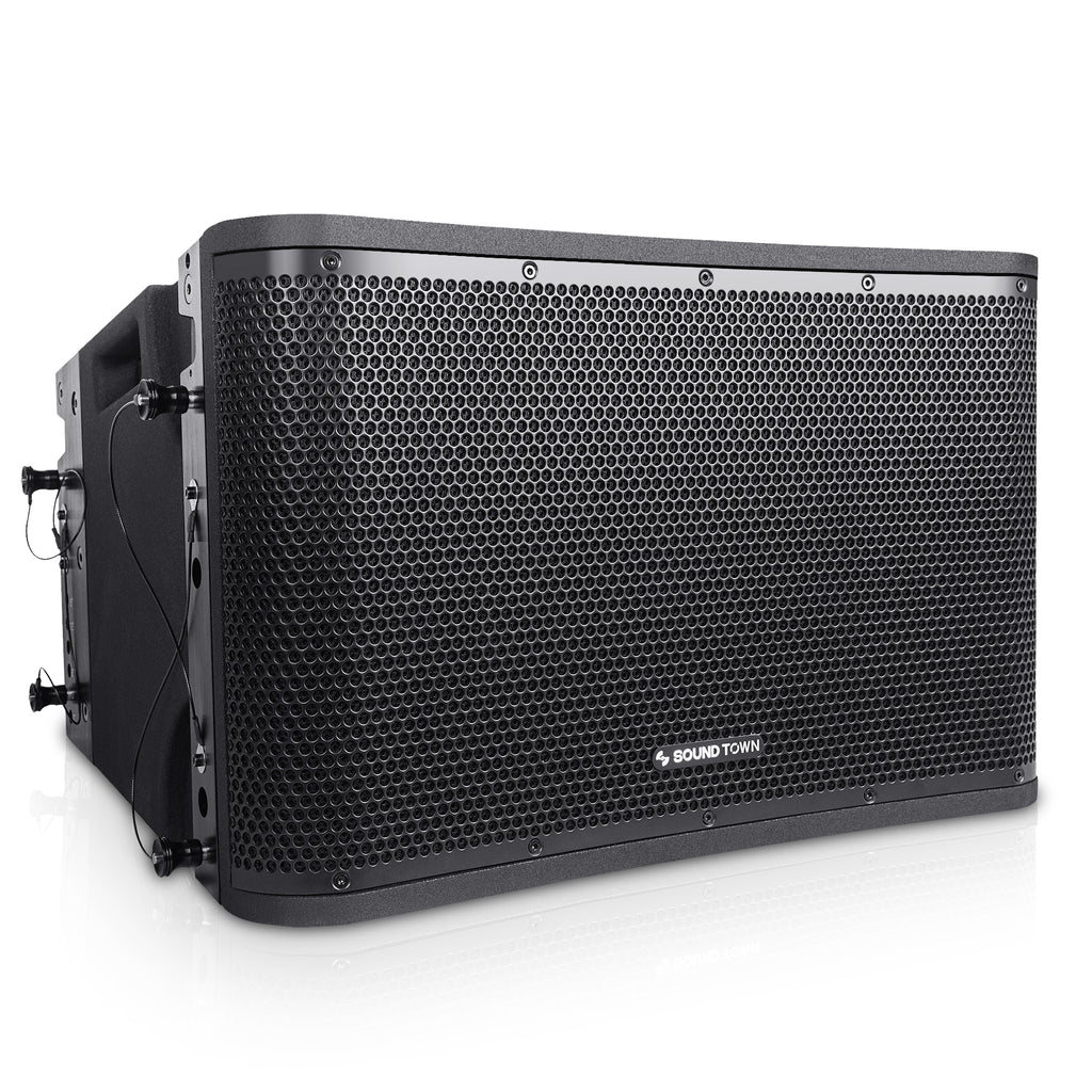 "SOUND TOWN ZETHUS-112BPW ZETHUS Series 12"" Powered 2-Way Line Array Loudspeaker System with Two Titanium Compression Drivers, Black for Live Sound, Club, Bar, Restaurant, Church and School - Right Panel"