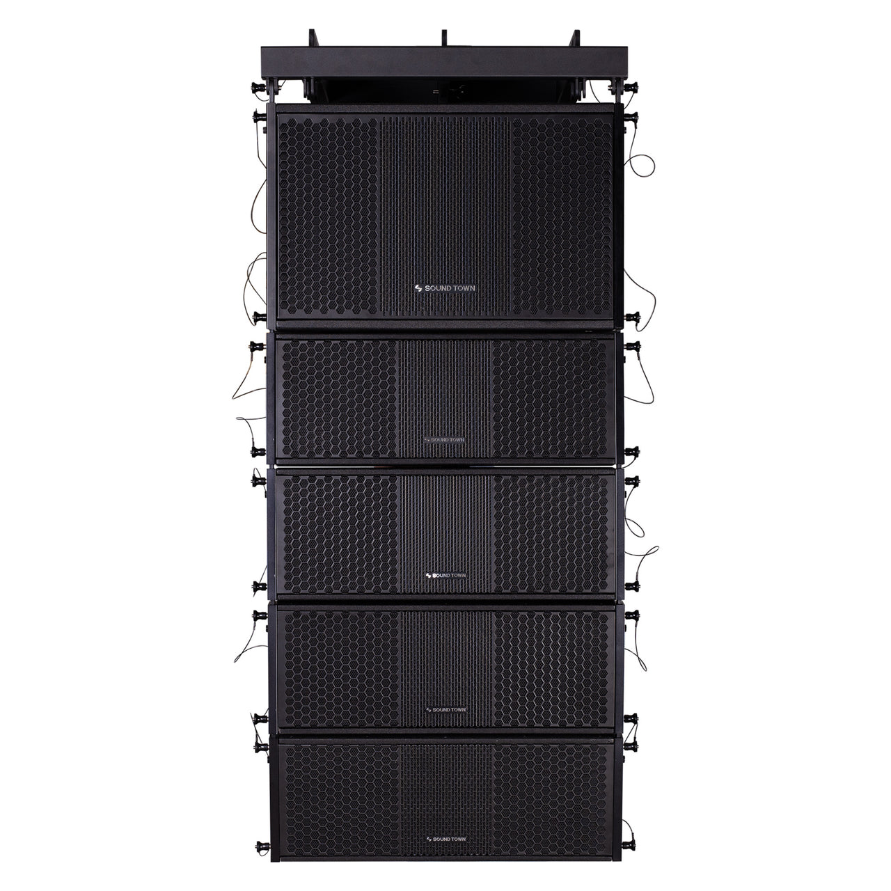 Sound Town ZETHUS-112S-208BV2 ZETHUS Series Line Array Speaker System with One 12-inch Line Array Subwoofer, Four Compact Dual 8-inch Line Array Speakers, Black - Front Panel