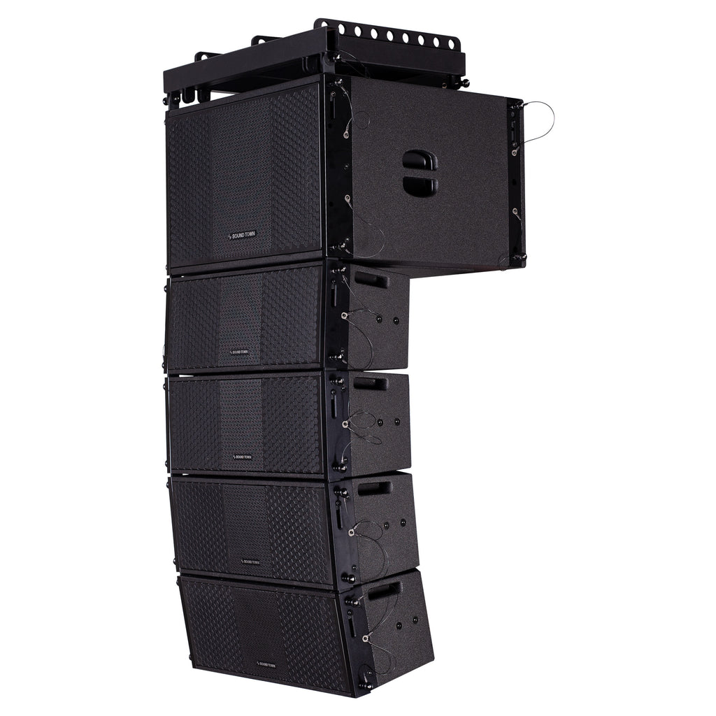 Sound Town ZETHUS-112S-208BV2 ZETHUS Series Line Array Speaker System with One 12-inch Line Array Subwoofer, Four Compact Dual 8-inch Line Array Speakers, Black - Side, Back Panel