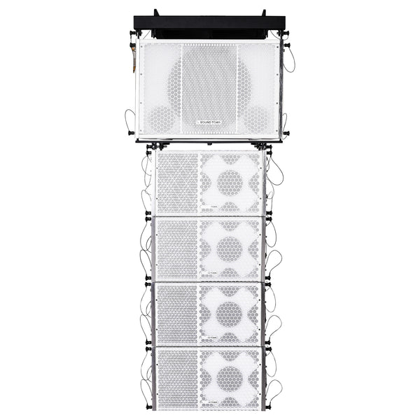 Sound Town ZETHUS-115SW110WX4 ZETHUS Series Line Array Speaker System with One 15-inch Line Array Subwoofer, Four Compact 1 X 10-inch Line Array Speakers, White
