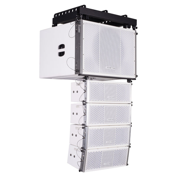 Sound Town ZETHUS-115SW205W ZETHUS Series Line Array Speaker System with One 15-inch Line Array Subwoofer, Four Compact Dual 5-inch Line Array Loudspeakers, White