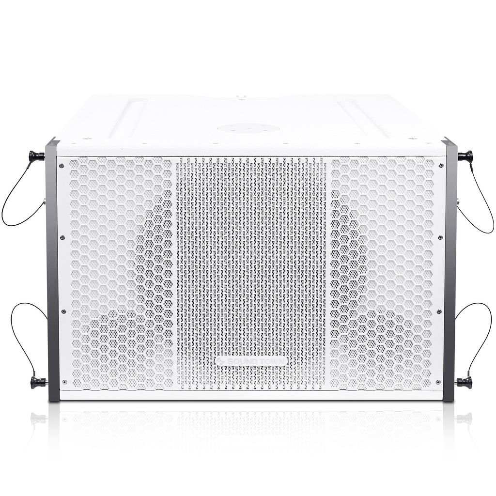 "Sound Town ZETHUS-115SWPW ZETHUS Series 15"" 1000W Powered Line Array Subwoofer, White - Front Panel"