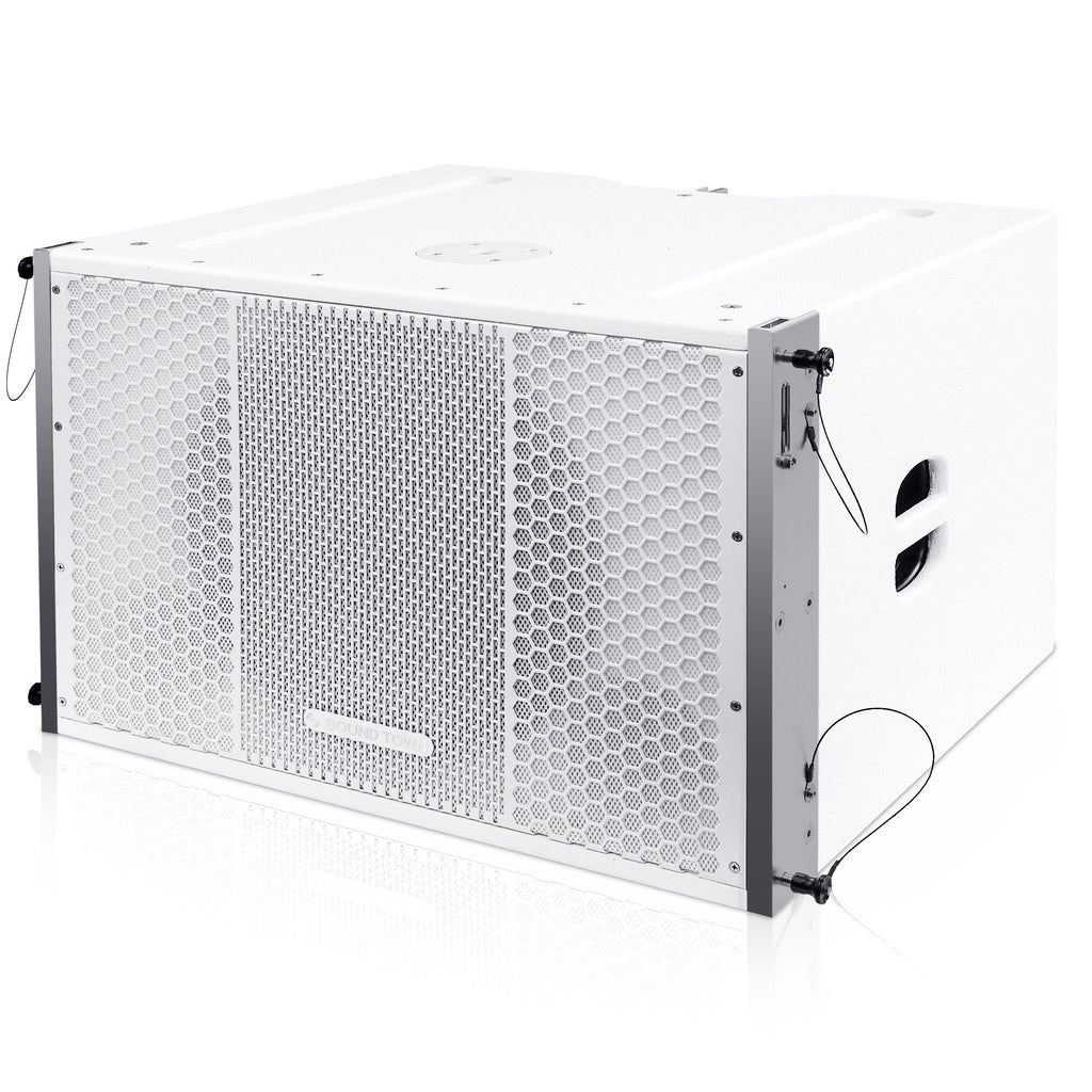 "Sound Town ZETHUS-115SWPW ZETHUS Series 15"" 1000W Powered Line Array Subwoofer, White - Left Panel"