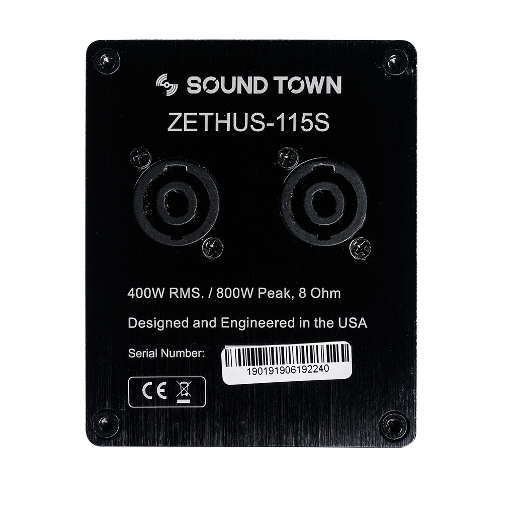 "Sound Town ZETHUS-115SW ZETHUS Series 15"" 1000W Passive Line Array Subwoofer, White for Live Sound, Stage, Clubs, Churches and Schools - Jack Plate"