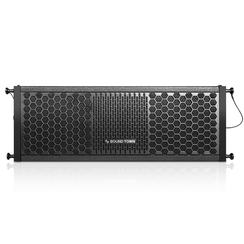 "Sound Town ZETHUS-205V2 ZETHUS Series Dual 5 Inch (2 X 5"") Line Array Loudspeaker System with Titanium Compression Driver, Black - Front Panel"