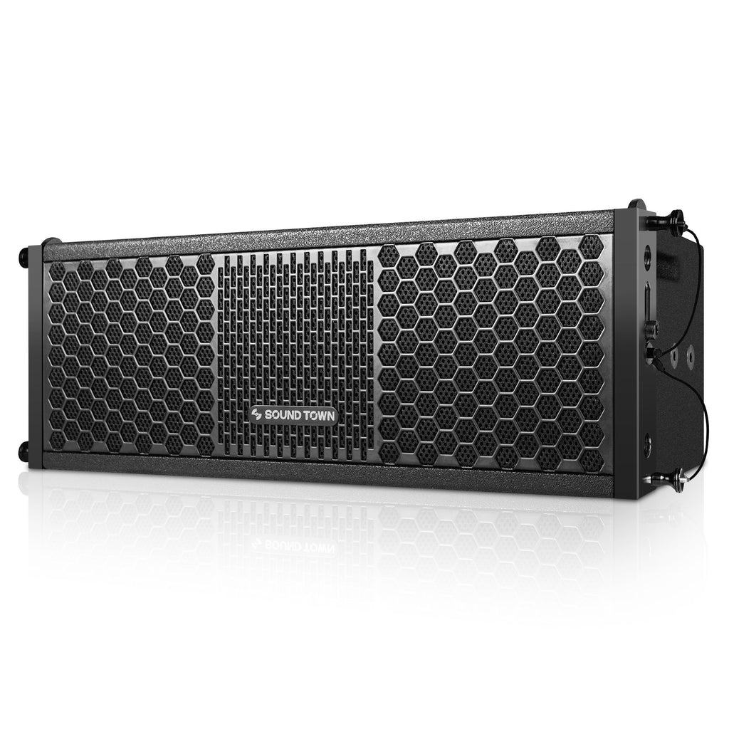 "Sound Town ZETHUS-205V2 ZETHUS Series Dual 5 Inch (2 X 5"") Line Array Loudspeaker System with Titanium Compression Driver, Black - Left Panel"