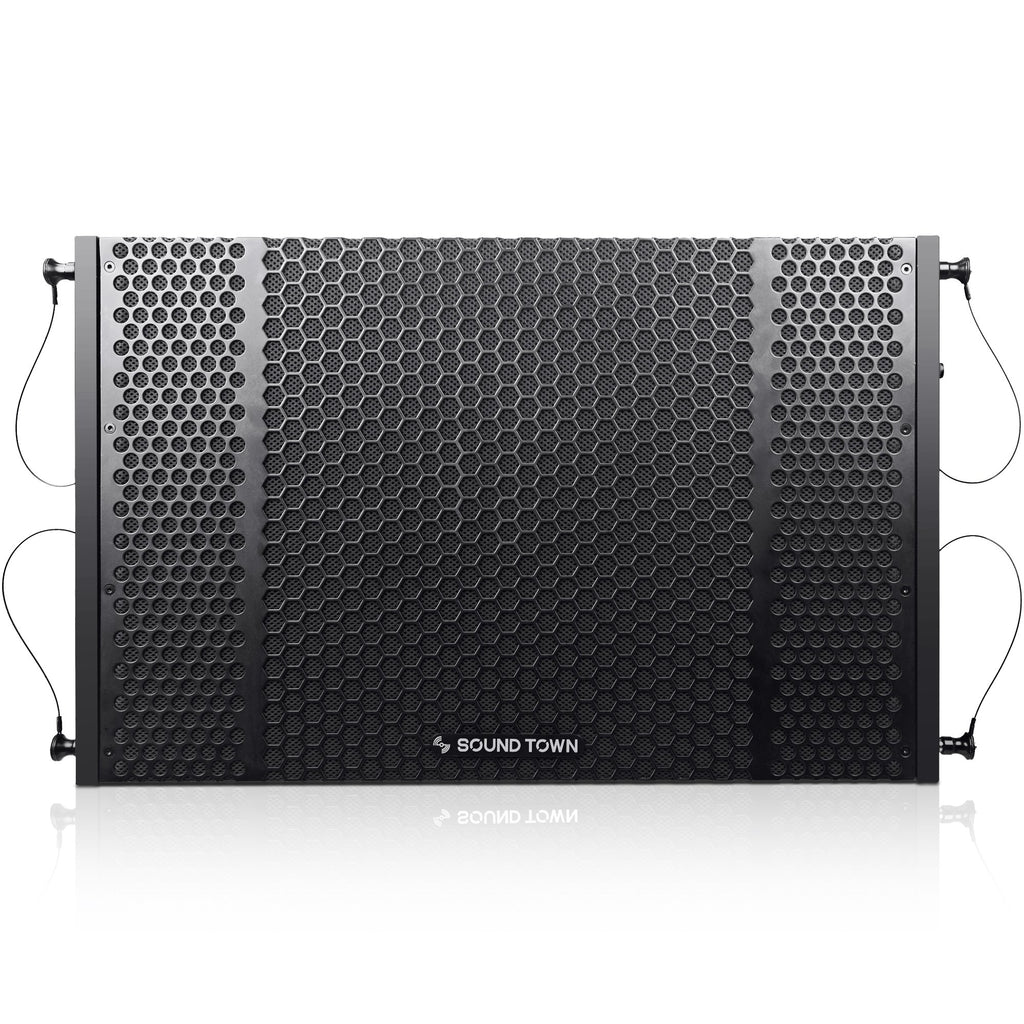 "Sound Town ZETHUS-208-212S-SS ZETHUS Series Dual 12"" 1200W Line Array Subwoofer, Black - Front Panel"