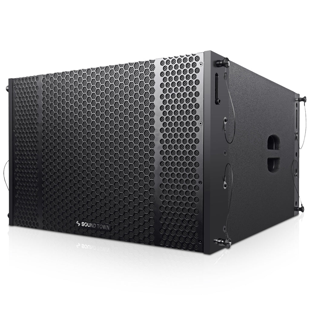 "Sound Town ZETHUS-208-212S-SS ZETHUS Series Dual 12"" 1200W Line Array Subwoofer, Black - Left Panel"