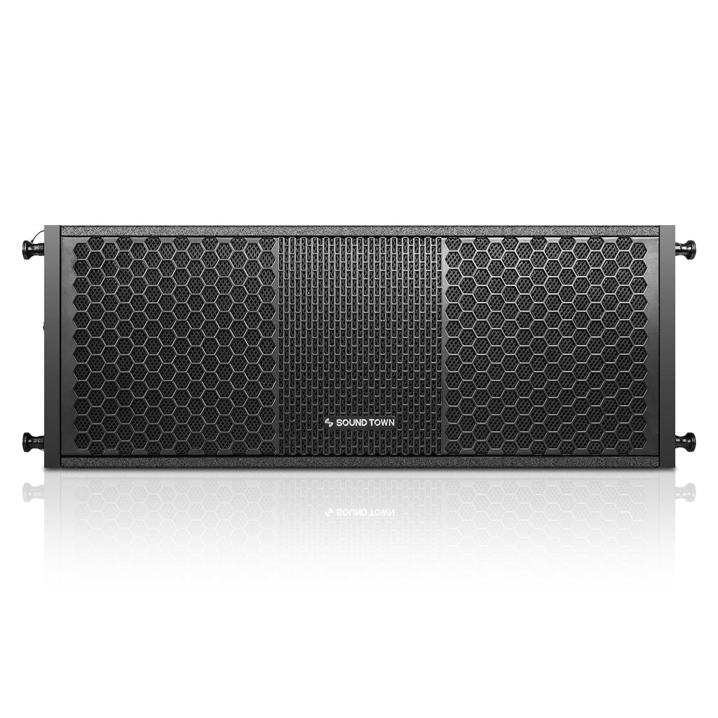 "Sound Town ZETHUS-208BV2 2 X 8"" Line Array Loudspeaker System with Titanium Compression Driver, Black - Front Panel"