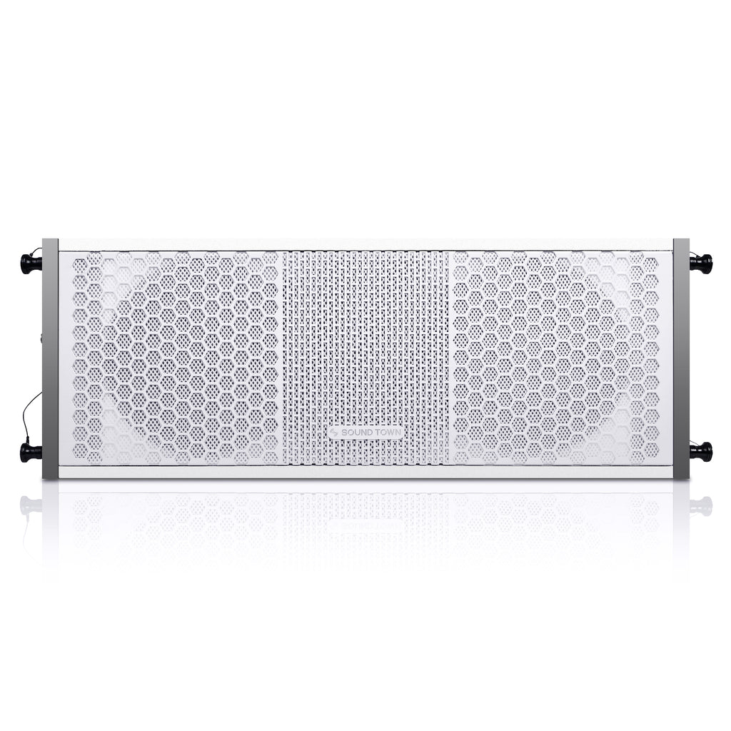 "Sound Town ZETHUS-208WV2 ZETHUS Series 2 X 8"" Line Array Loudspeaker System with Titanium Compression Driver, White - Front Panel"