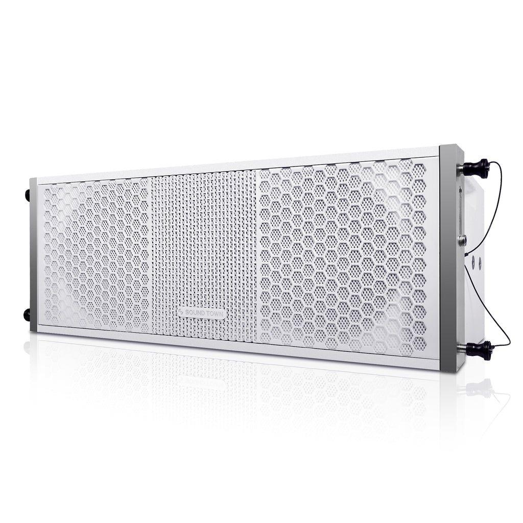 "Sound Town ZETHUS-208WV2 ZETHUS Series 2 X 8"" Line Array Loudspeaker System with Titanium Compression Driver, White - Left Panel"