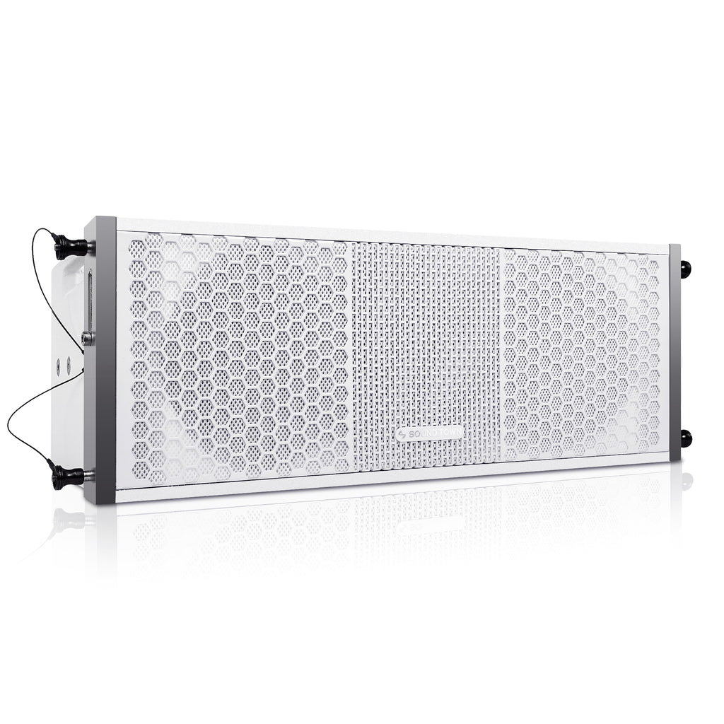 "Sound Town ZETHUS-208WV2 ZETHUS Series 2 X 8"" Line Array Loudspeaker System with Titanium Compression Driver, White - Right Panel"