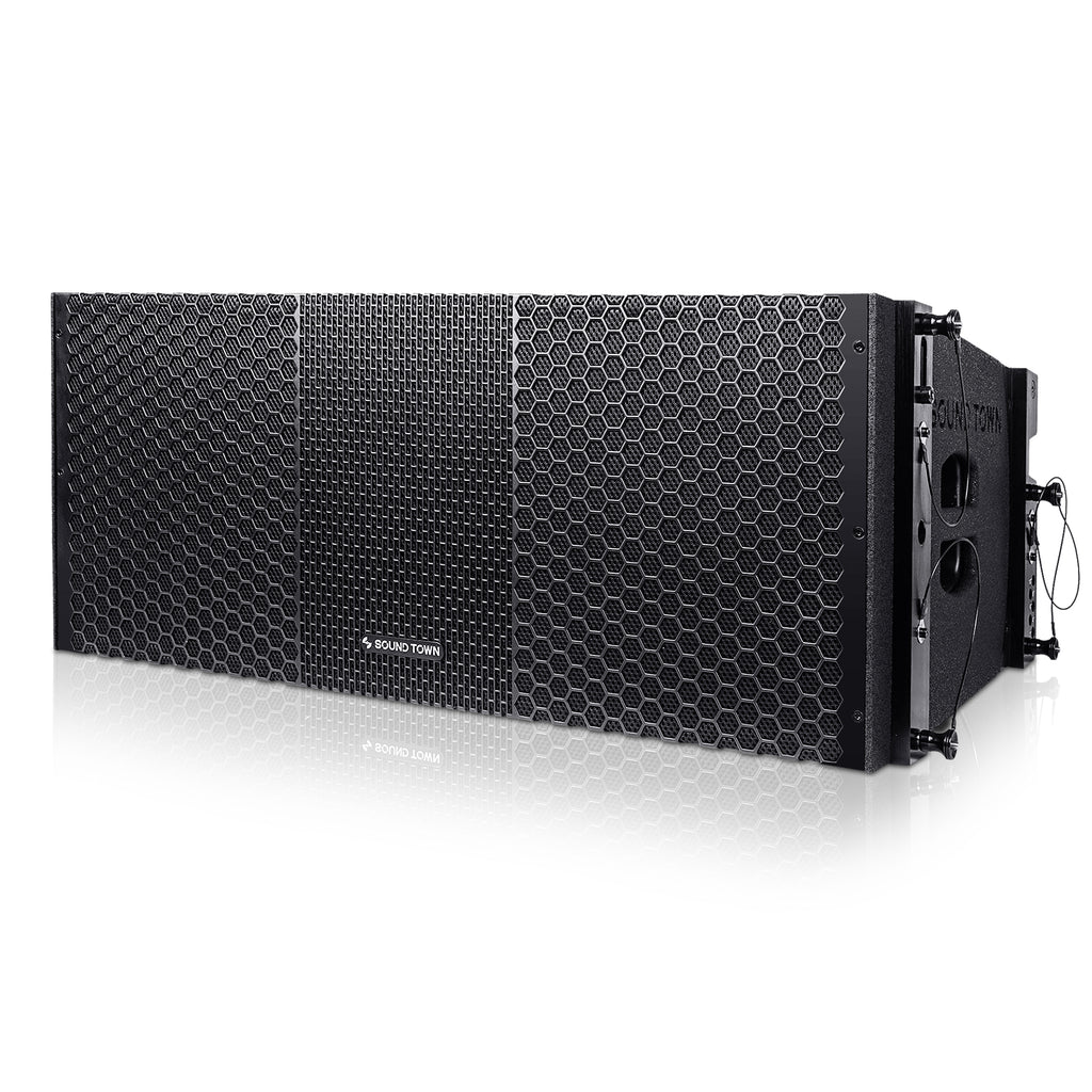 Sound Town ZETHUS-210BX4 ZETHUS Series 2x10 inch Line Array Loudspeaker System with Dual Titanium Compression Drivers, Full Range/Bi-amp Switchable, Black - Left Panel