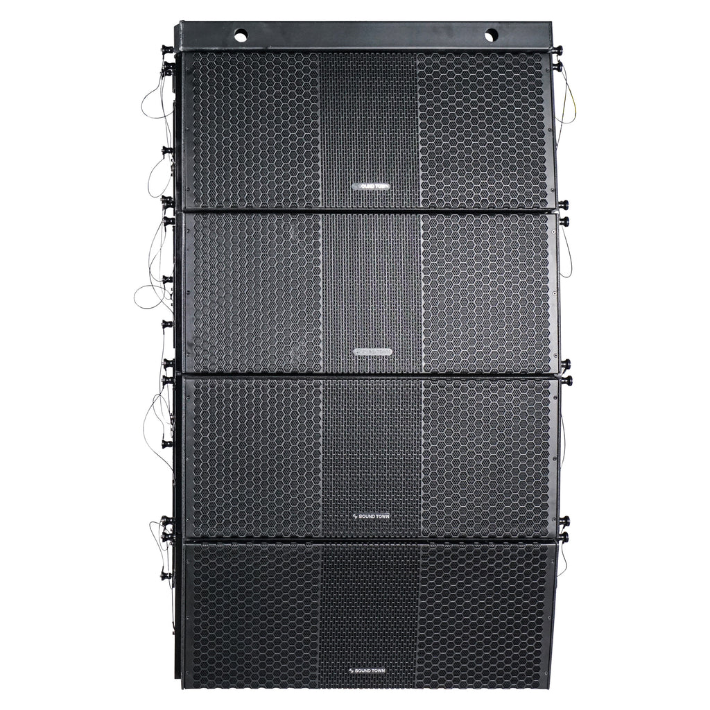Sound Town ZETHUS-210BX4 ZETHUS Series 4x Dual 10-inch Line Array Loudspeaker System with Titanium Compression Drivers, Full Range  Bi-amp Switchable, Black - Front Panel