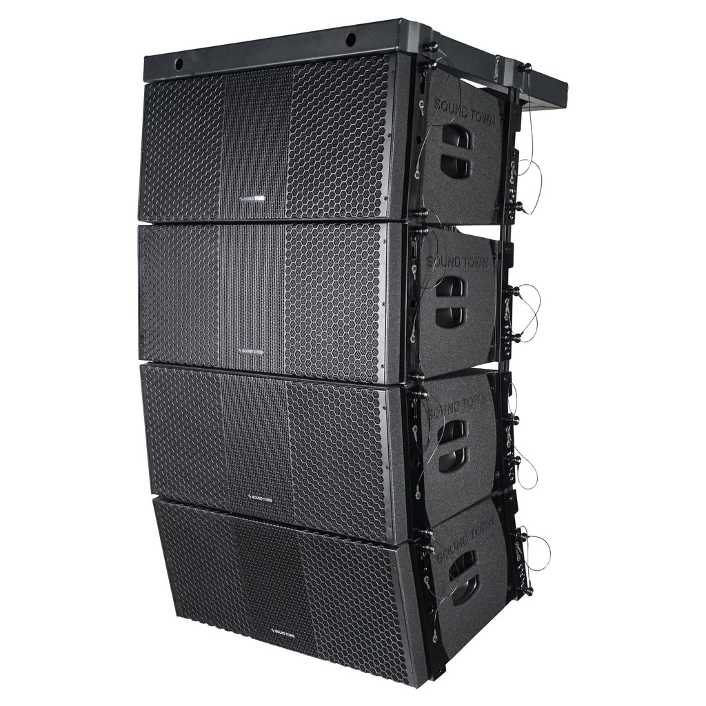 Sound Town ZETHUS-210BX4 ZETHUS Series 4x Dual 10-inch Line Array Loudspeaker System with Titanium Compression Drivers, Full Range  Bi-amp Switchable, Black - Left Panel