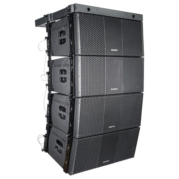 Sound Town ZETHUS-210BX4 ZETHUS Series 4x Dual 10-inch Line Array Loudspeaker System with Titanium Compression Drivers, Full Range  Bi-amp Switchable, Black - Right Panel
