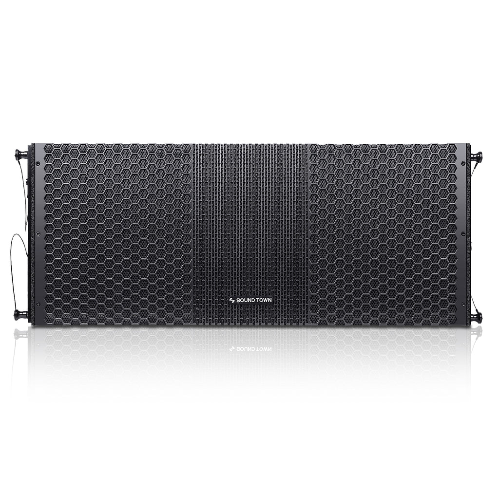 "Sound Town ZETHUS-210B ZETHUS Series 2 x 10"" Line Array Loudspeaker System with Dual Titanium Compression Drivers, Full Range/Bi-amp Switchable, Black - Front Panel"