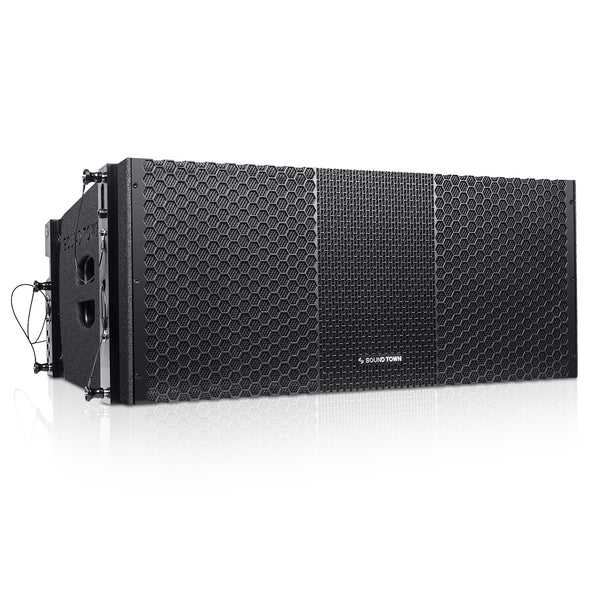 "Sound Town ZETHUS-210B ZETHUS Series 2 x 10"" Line Array Loudspeaker System with Dual Titanium Compression Drivers, Full Range/Bi-amp Switchable, Black - Right Panel"