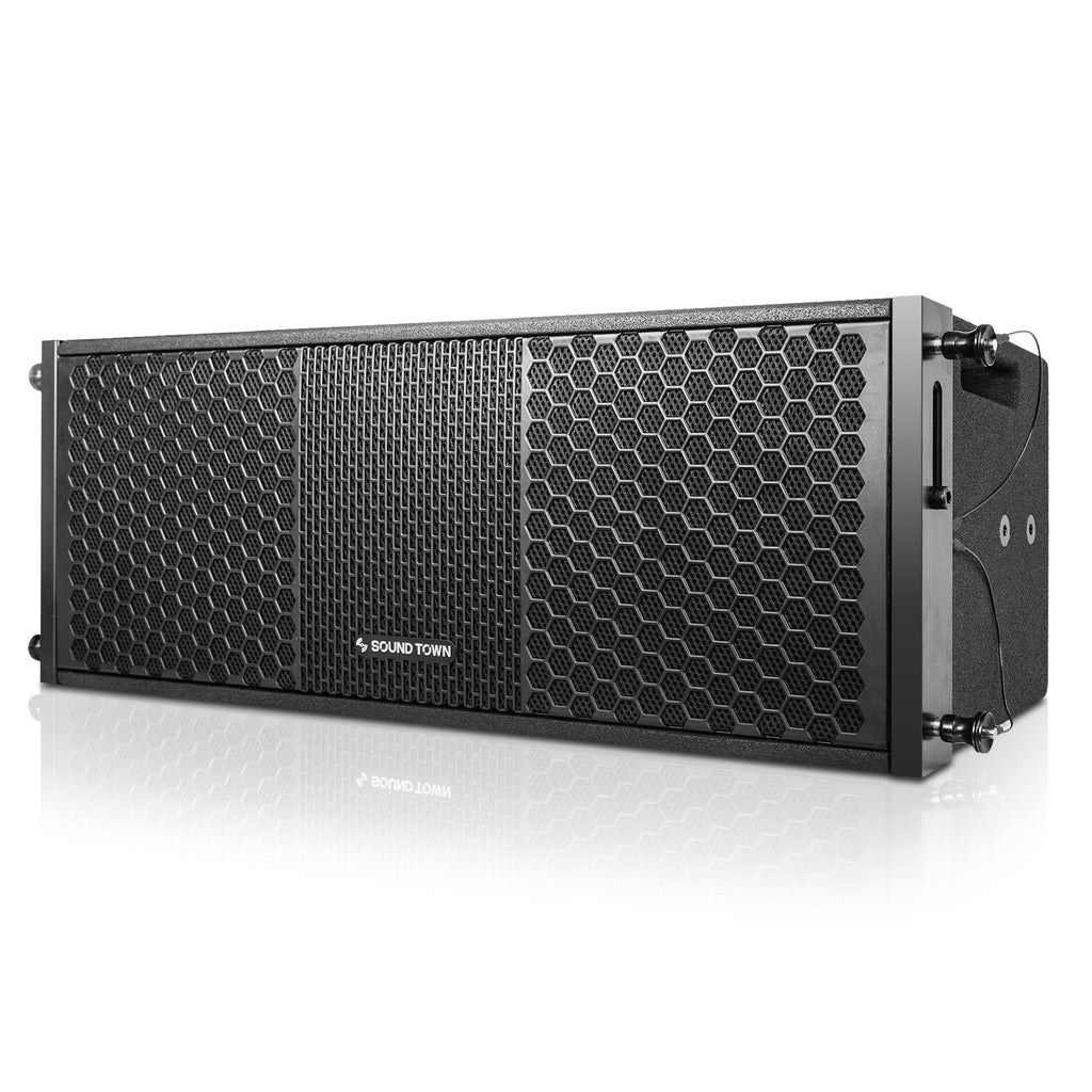 "Sound Town ZETHUS-212S-208BV2 2 X 8"" Line Array Loudspeaker System with Titanium Compression Driver, Black - Left Panel"