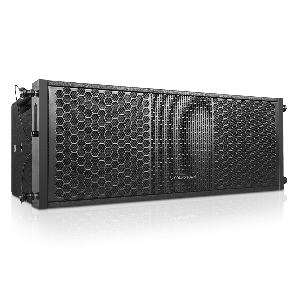 "Sound Town ZETHUS-212S-208BV2 2 X 8"" Line Array Loudspeaker System with Titanium Compression Driver, Black - Right Panel"