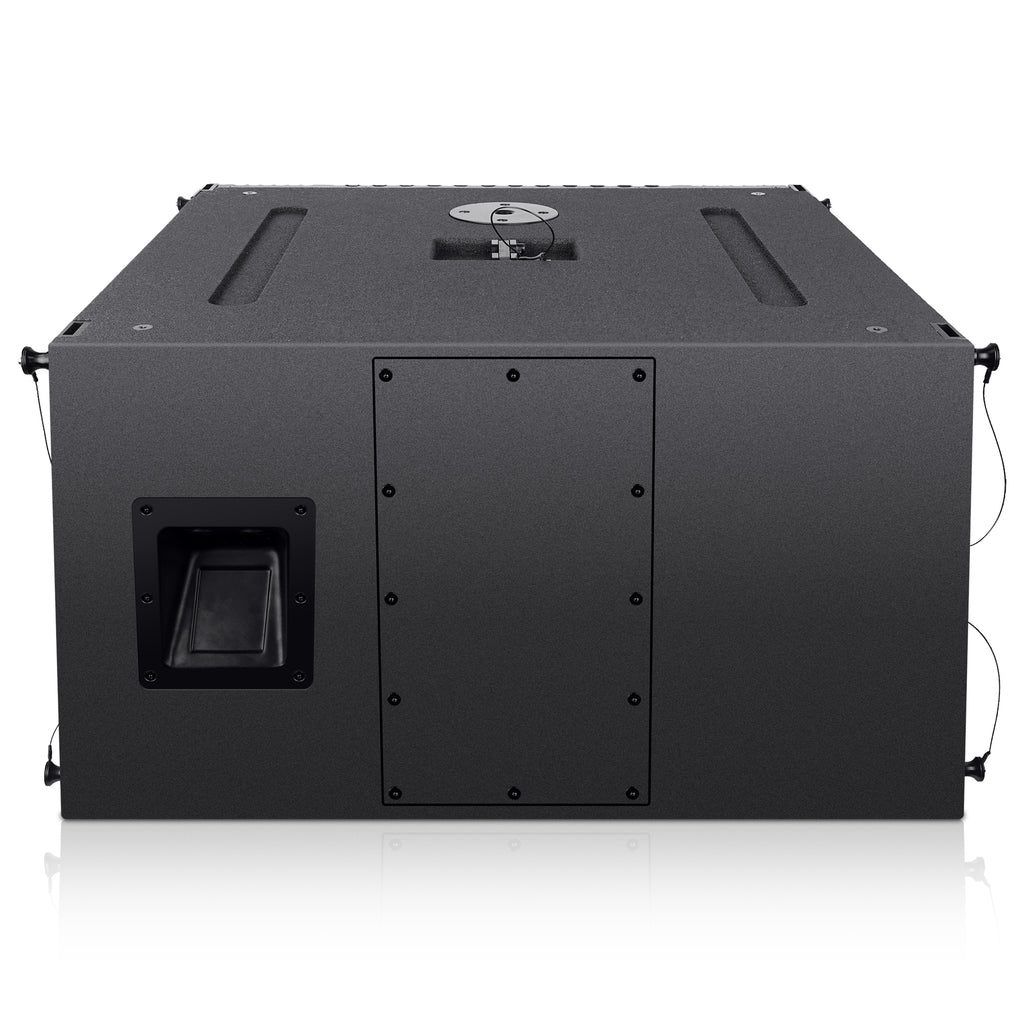 "Sound Town ZETHUS-212S-208BV2 ZETHUS Series Dual 12"" 1200W Line Array Subwoofer, Black- Back Panel"