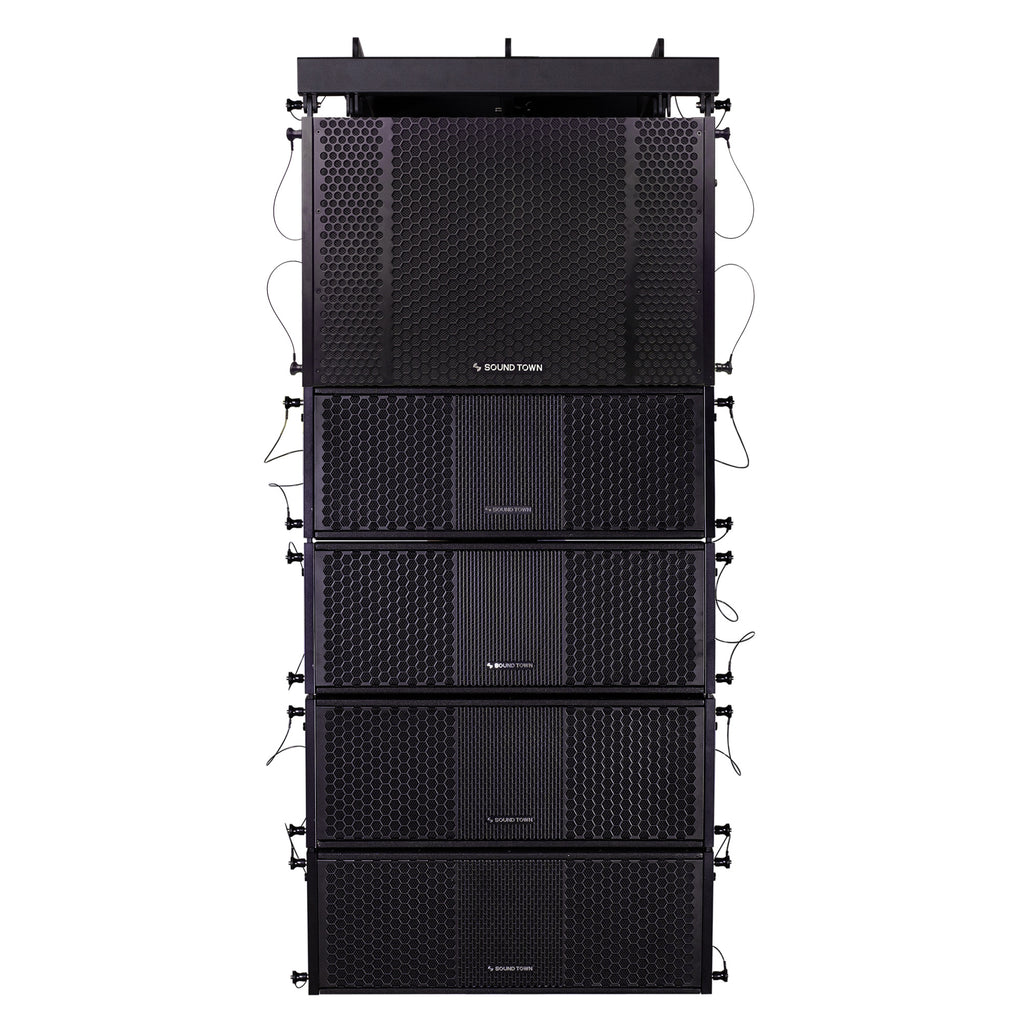 Sound Town ZETHUS-212S-208BV2 ZETHUS Series Line Array Speaker System with One Dual 12-inch Line Array Subwoofer, Four Compact Dual 8-inch Line Array Speakers, Black