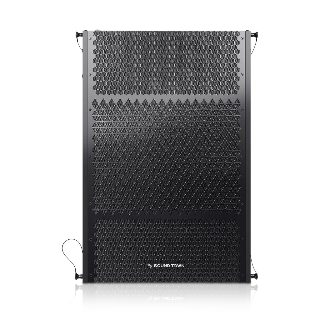 "Sound Town ZETHUS-215S ZETHUS Series Dual 15"" 1600W Line Array Subwoofer, Black - Front Panel"