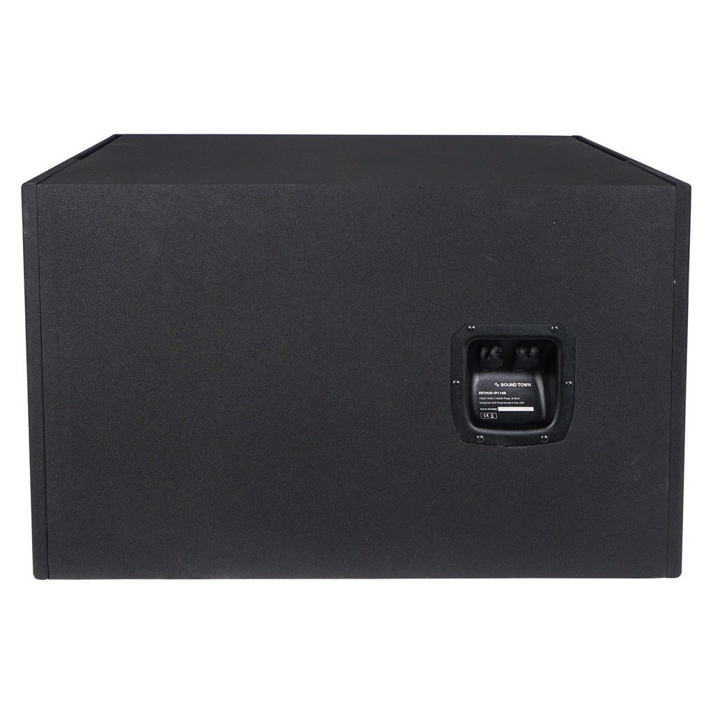 Sound Town ZETHUS-IP115S208X4 ZETHUS Series 15 inch 1400W Weatherproof Waterproof Passive Line Array Subwoofer with 15 inch Aluminum Woofer and 4 inch Voice Coil, Black - back panel