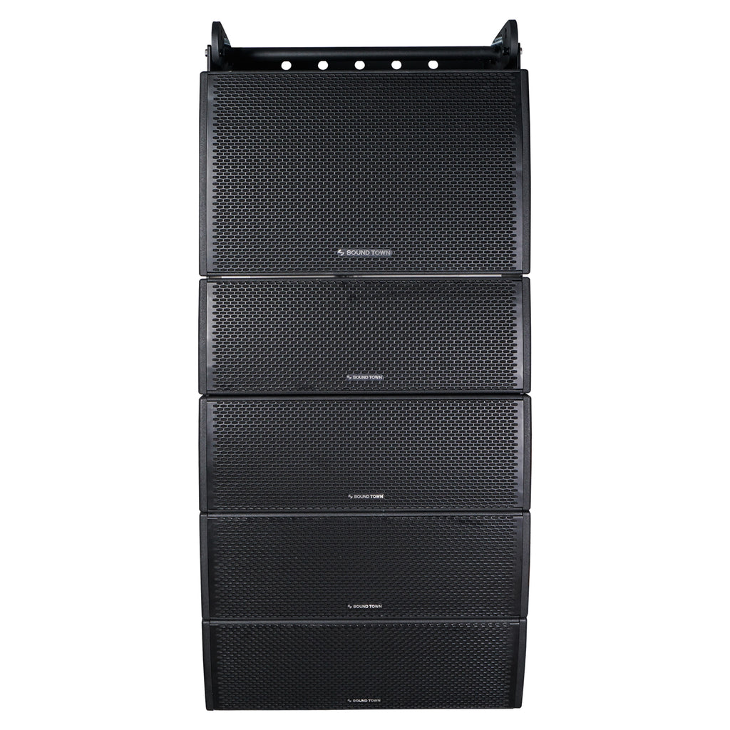 Sound Town ZETHUS-IP115S208X4 Weatherproof Line Array System with One 15-inch Waterproof Line Array Subwoofer, Four Compact Dual 8-inch Line Array PA Speakers, Full Range/Bi-amp Switchable - Front Panel