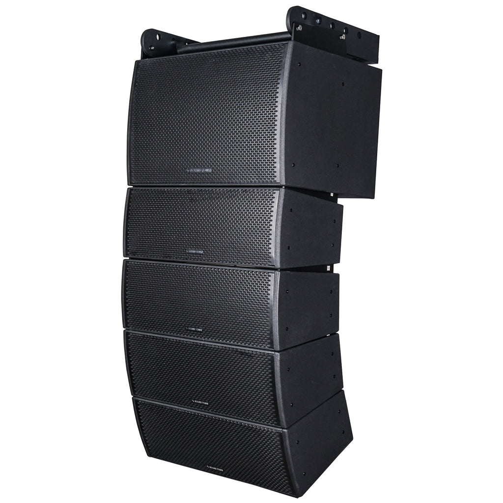 Sound Town ZETHUS-IP115S208X4 Weatherproof Line Array System with One 15-inch Waterproof Line Array Subwoofer, Four Compact Dual 8-inch Line Array PA Speakers, Full Range/Bi-amp Switchable - Left Panel