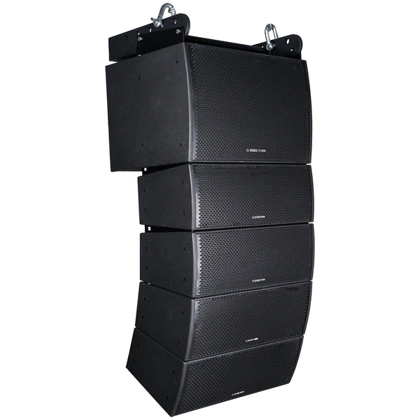 Sound Town ZETHUS-IP115S208X4 Weatherproof Line Array System with One 15-inch Waterproof Line Array Subwoofer, Four Compact Dual 8-inch Line Array PA Speakers, Full Range/Bi-amp Switchable - Right Panel