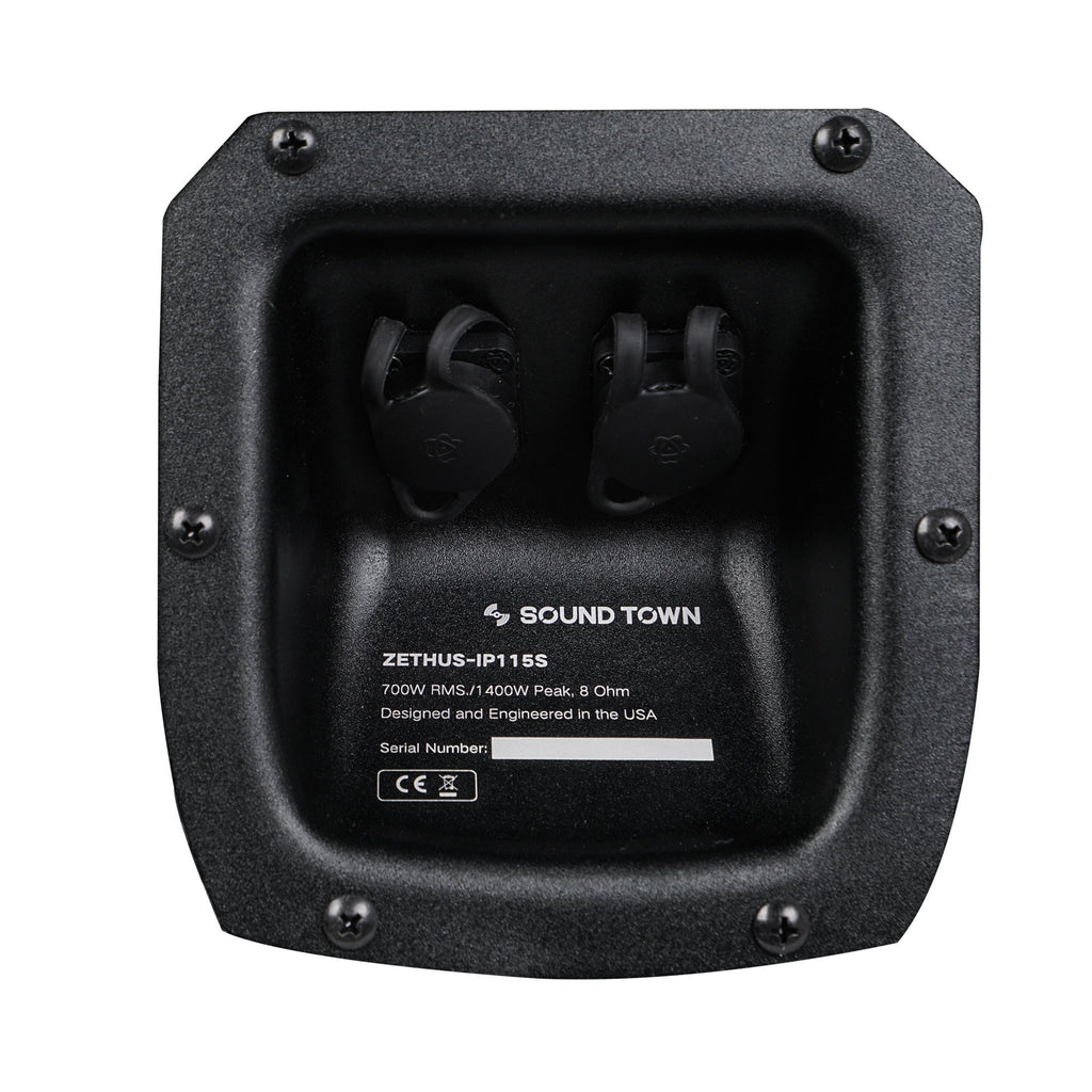 "Sound Town ZETHUS-IP115S ZETHUS Series 15"" 1400W Weatherproof Waterproof Passive Line Array Subwoofer with 15"" Aluminum Woofer and 4"" Voice Coil, Black - Jack Plate & Input/Output Connectors"