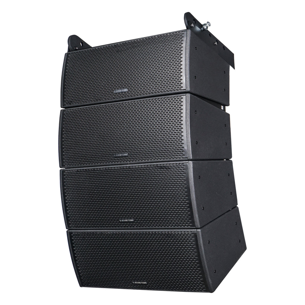 "Sound Town ZETHUS-IP208X4 ZETHUS Series 4x Dual 8"" Weatherproof/Waterproof Passive Line Array System with 3"" Titanium Compression Drivers, Full Range/Bi-amp Switchable, Black - Left"