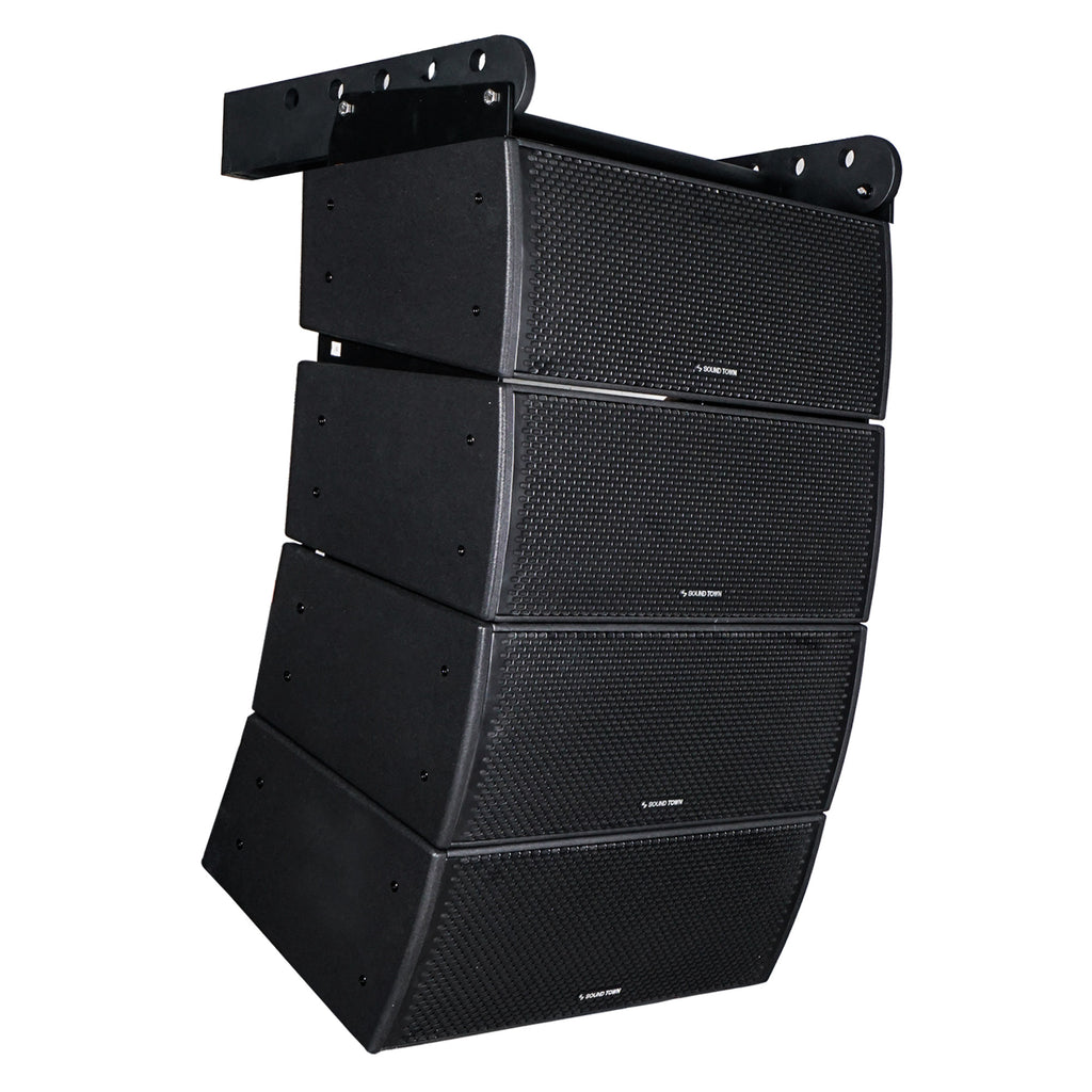 "Sound Town ZETHUS-IP208X4 ZETHUS Series 4x Dual 8"" Weatherproof/Waterproof Passive Line Array System with 3"" Titanium Compression Drivers, Full Range/Bi-amp Switchable, Black - Right"