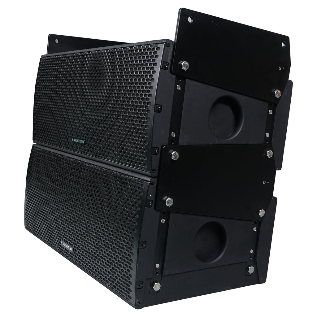 "Sound Town ZETHUS-IP208X4 ZETHUS Series Dual 8"" 900W Weatherproof/Waterproof Passive Line Array Loudspeaker with 3"" Titanium Compression Driver, Full Range/Bi-amp Switchable, Black - Stacked"