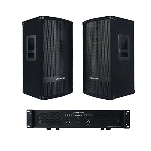 "Professional PA System with Pair of 12"" PA Speakers, One Dual-Channel Power Amplifier andAudio Cables (METIS-112NIXS1)"