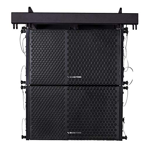 Sound Town ZETHUS-110PWX2 ZETHUS Series 1200W Powered Line Array Speaker System with Two 10-inch Powered Line Array Speakers, Black for Installation, Live Sound, Bar, Club, Church - Set