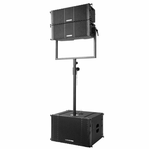 "Sound Town ZETHUS-208-212S-SS ZETHUS Series Line Array System with Pair of Compact 2X8"" Line Array Speakers, One 2X12"" Subwoofer, Mounting Pole"