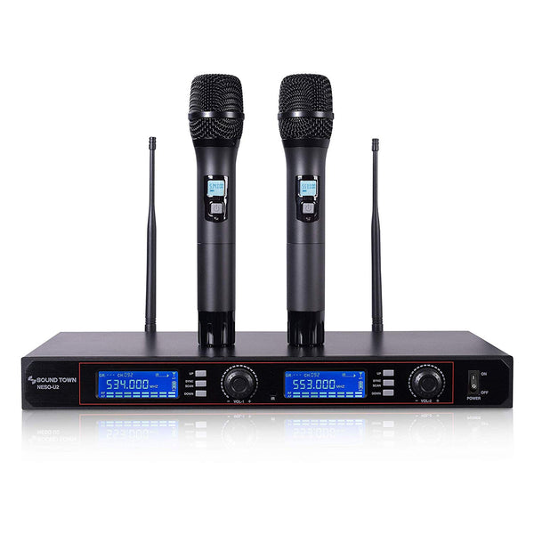 NESO-U2HH <br/>200-Channel Rack Mountable Professional UHF Wireless Microphone System with Metal Receiver and 2 Handheld Mics