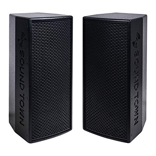 "KALE-208BPW-PAIR <br/> 2-Pack Dual 8"" 1200W Powered DJ PA Speaker w/ Bluetooth, Titanium Compression Driver, 3-Channel Mixer, Black"