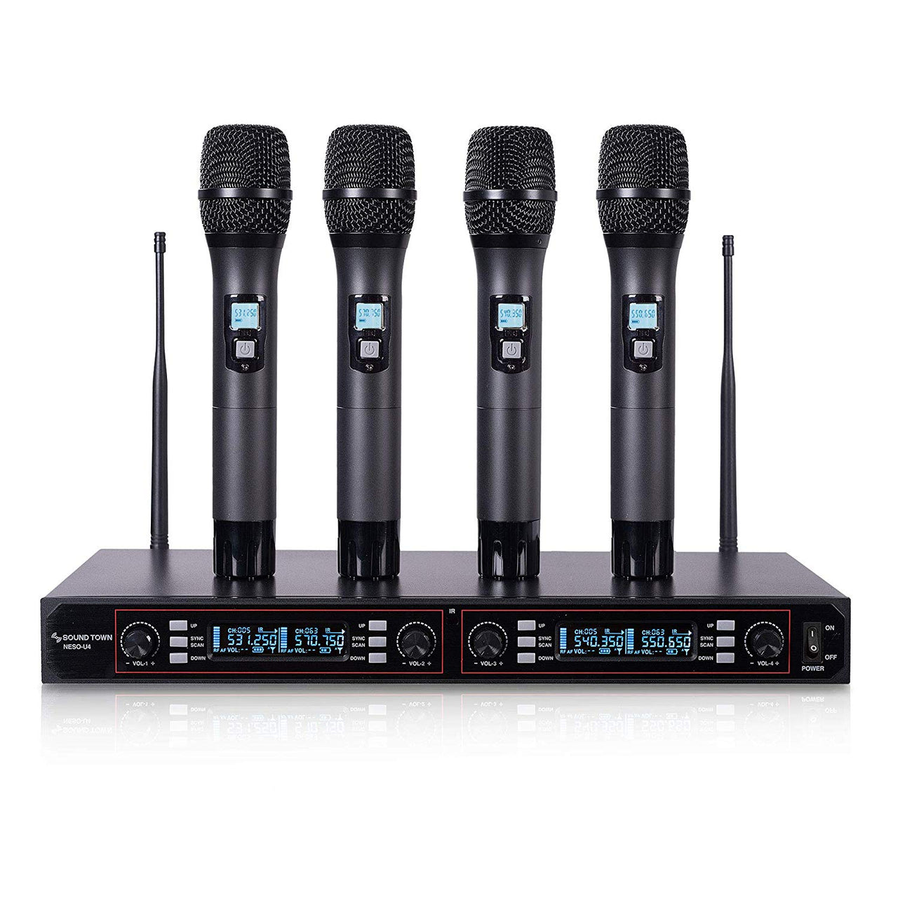 NESO-U4HH<br/>200-Channel Rack Mountable Professional UHF Wireless Microphone System with Metal Receiver and 4 Handheld Mics