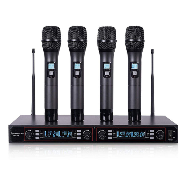 NESO-U4HH <br/>200-Channel Rack Mountable Professional UHF Wireless Microphone System with Metal Receiver and 4 Handheld Mics