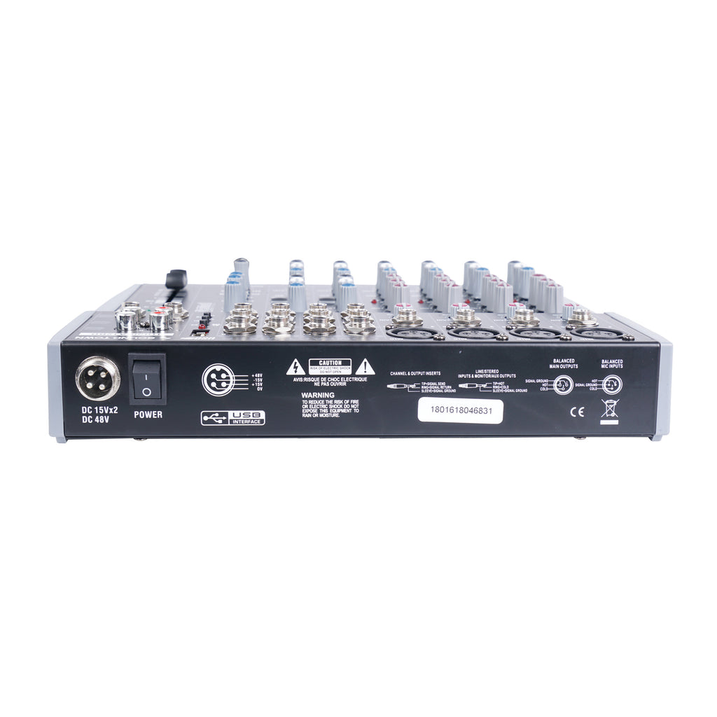 Sound Town TRITON-A12BD TRITON Series Professional 12-Channel Passive Audio Mixer with Bluetooth, USB Flash Drive Input and DSP - Rear with DC15Vx2, DC48V
