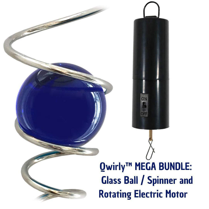 "Qwirly MEGA Bundle - 3,15""/ 80mm Glass Sphere Gazing Ball with Giant 24"" Metal Spiral Tail & 30 RPM Rotating Motor"